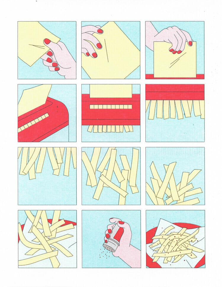 Illustration abstraite en forme de BD de frittes.