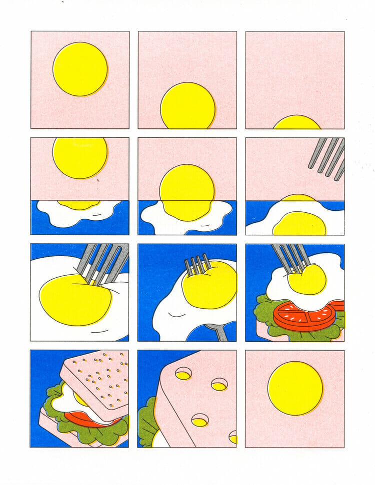Illustration abstraite en forme de BD d'un sandwich.