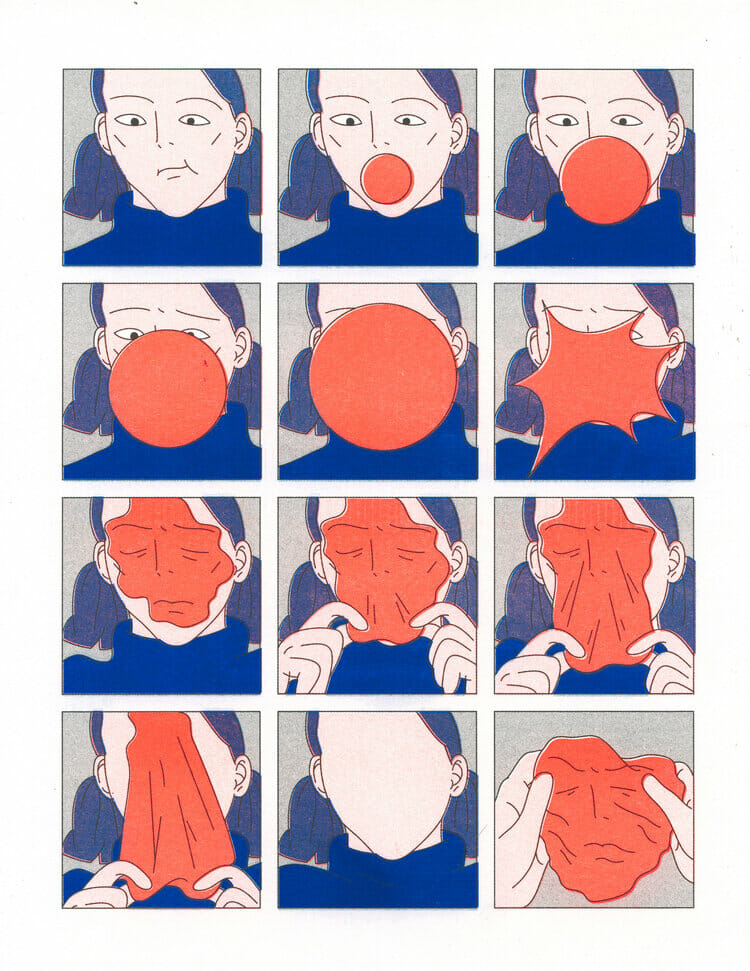 Illustration abstraite en forme de BD d'une femme avec un chewing-gum.