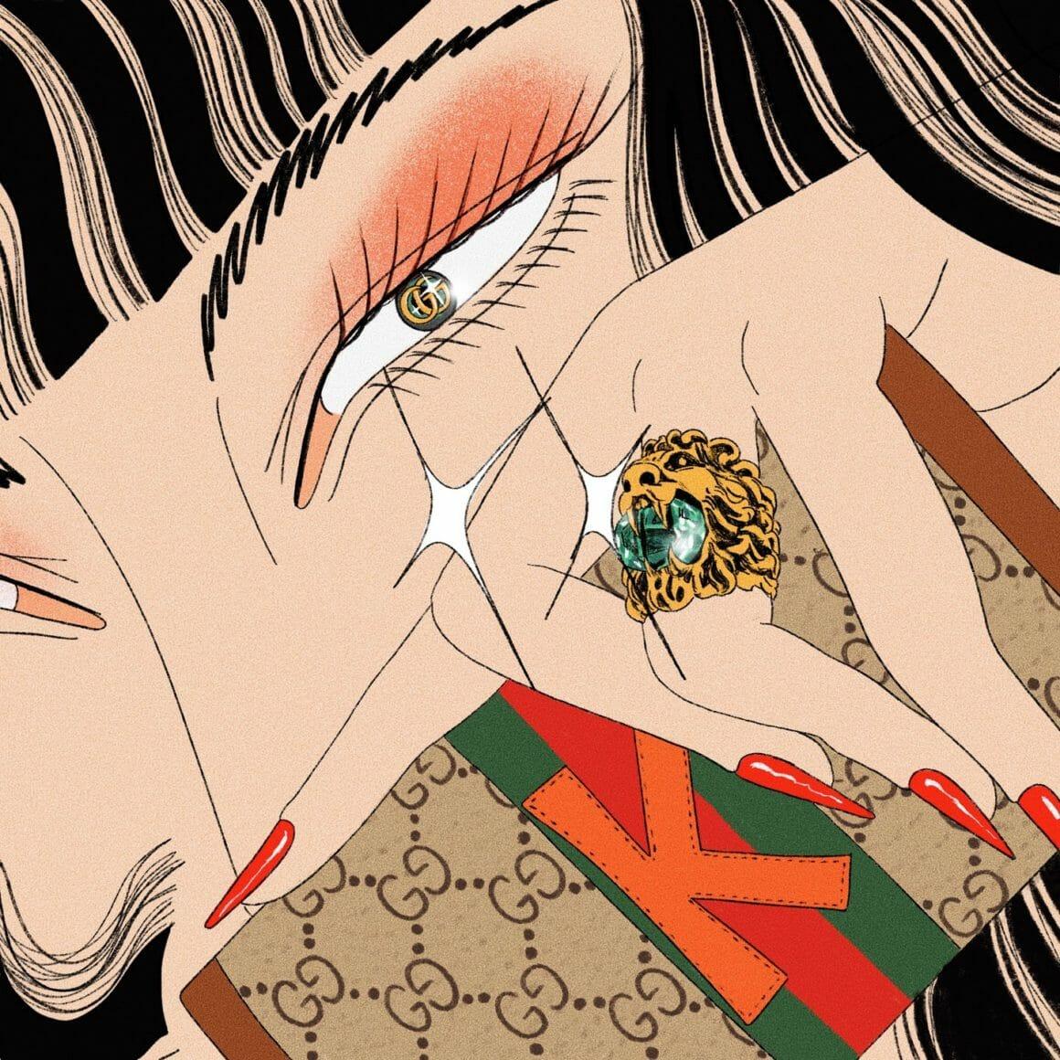 Illustration réalisée par l'artiste et tatoueuse coréenne Miki Kim pour Gucci
