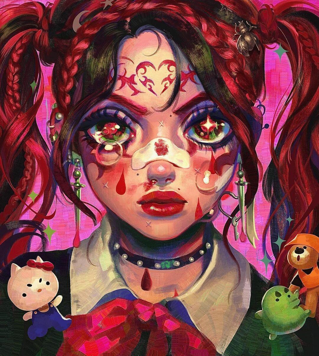 Illustration type manga d'une jeune fille au visage blessé.