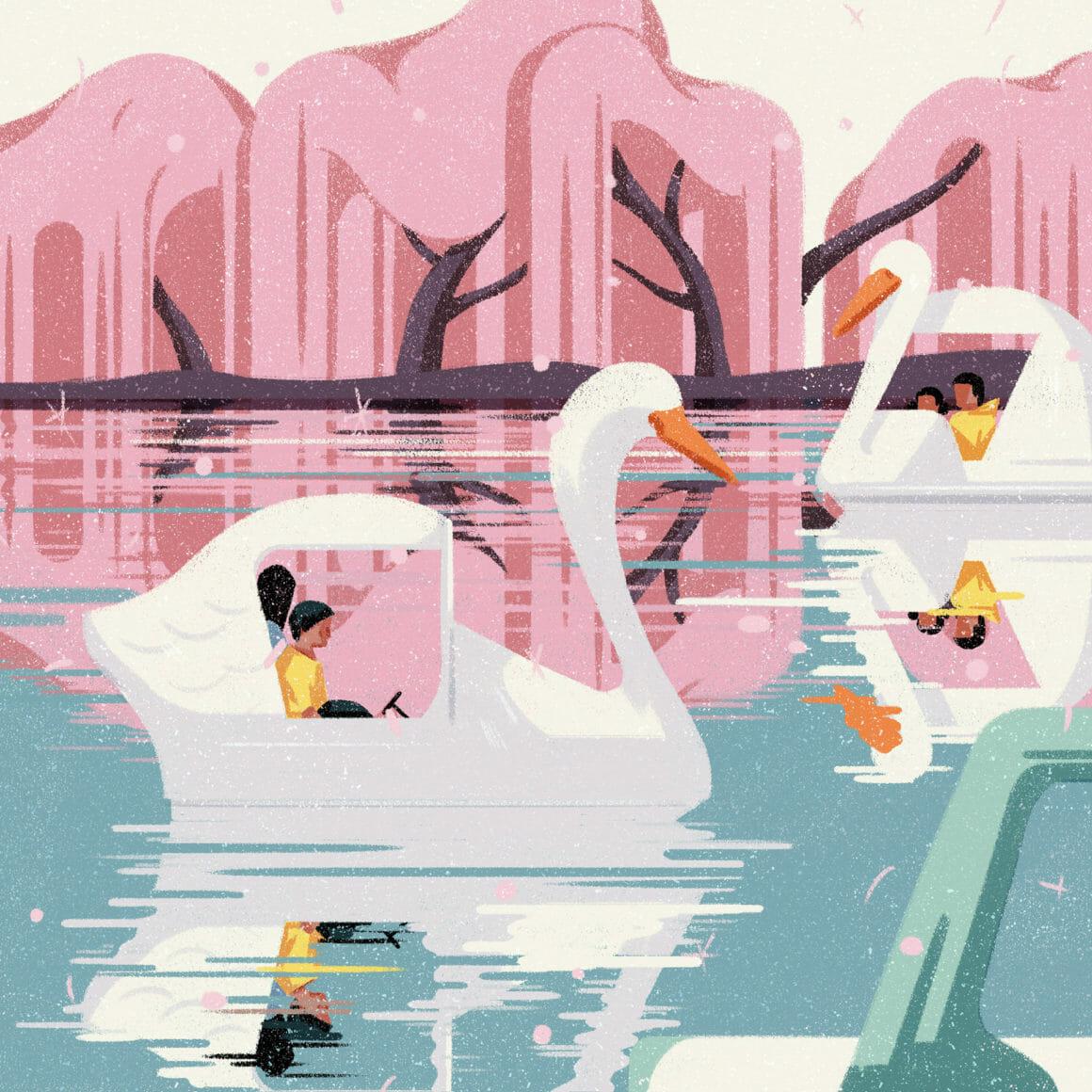 Illustration avec des personnages dans des bateaux en forme de cygnes.