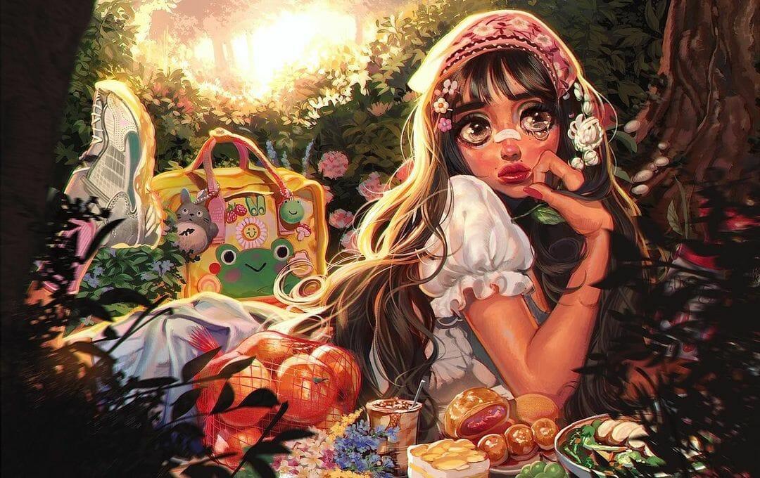 Illustration type manga d'une jeune fille dans une forêt.