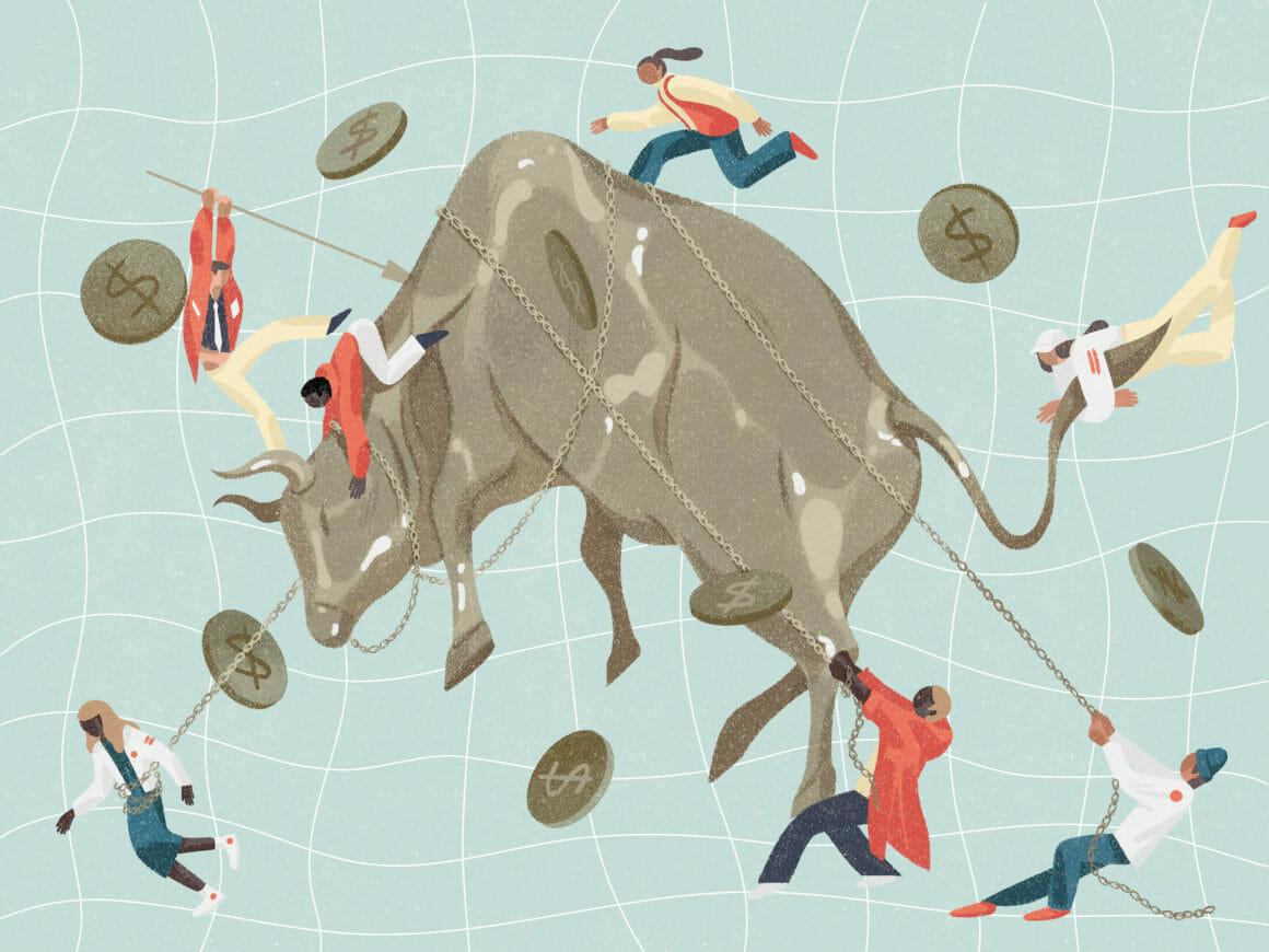 Illustration abstraite d'un taureau dompté par des hommes.