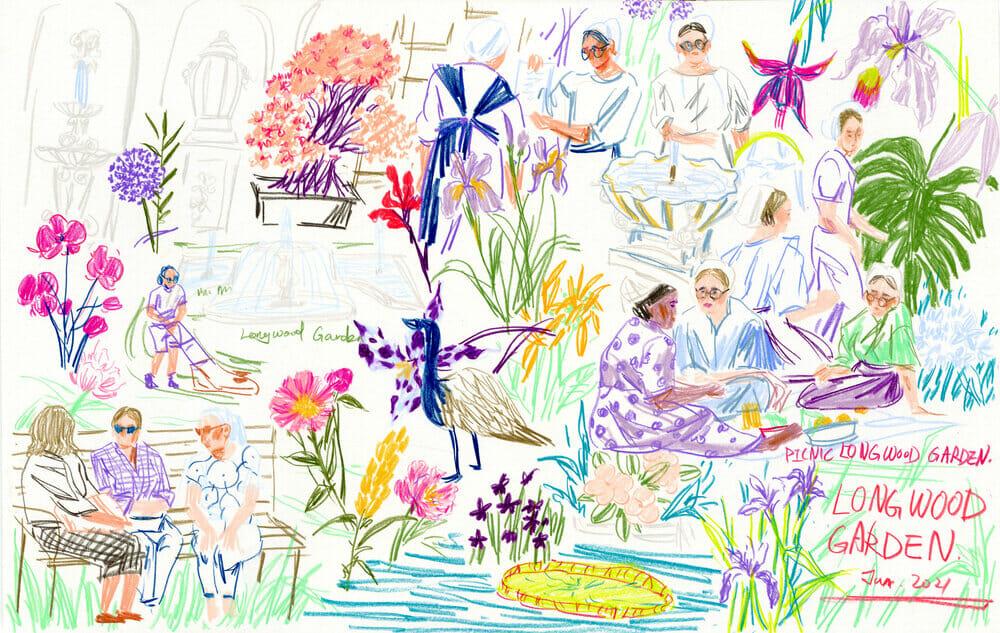 Illustration d'un jardin avec des femmes.