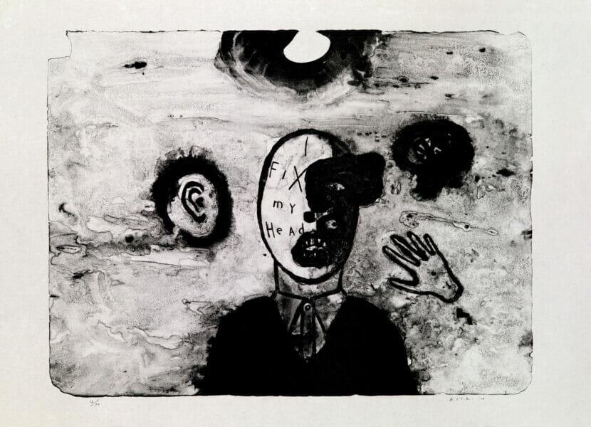 Lithographie réalisée par le peintre et cinéaste américain David Lynch