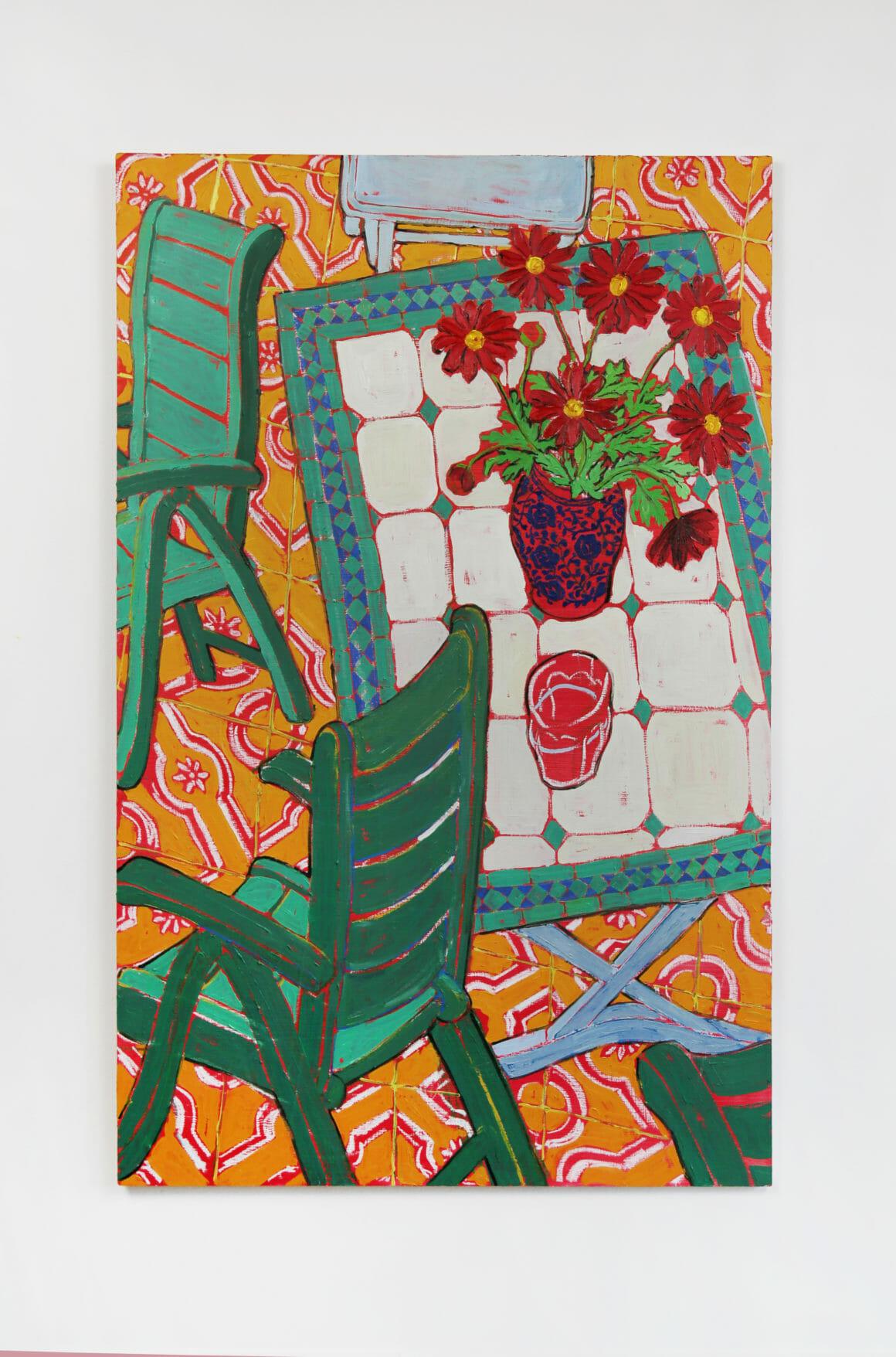 Peinture Miriam Dema chaises vertes et fleurs rouges