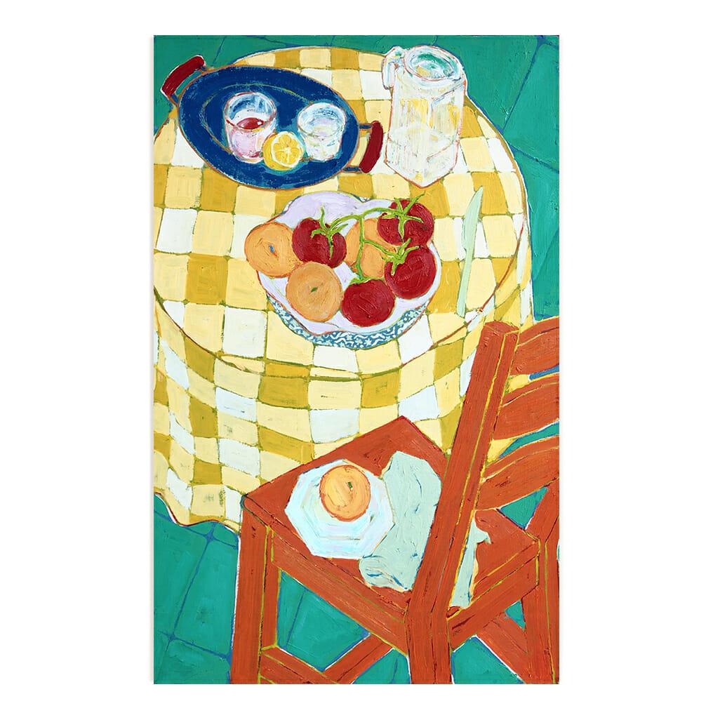 Peinture Miriam Dema, chaise, tomates, et nappe à carreaux jaune