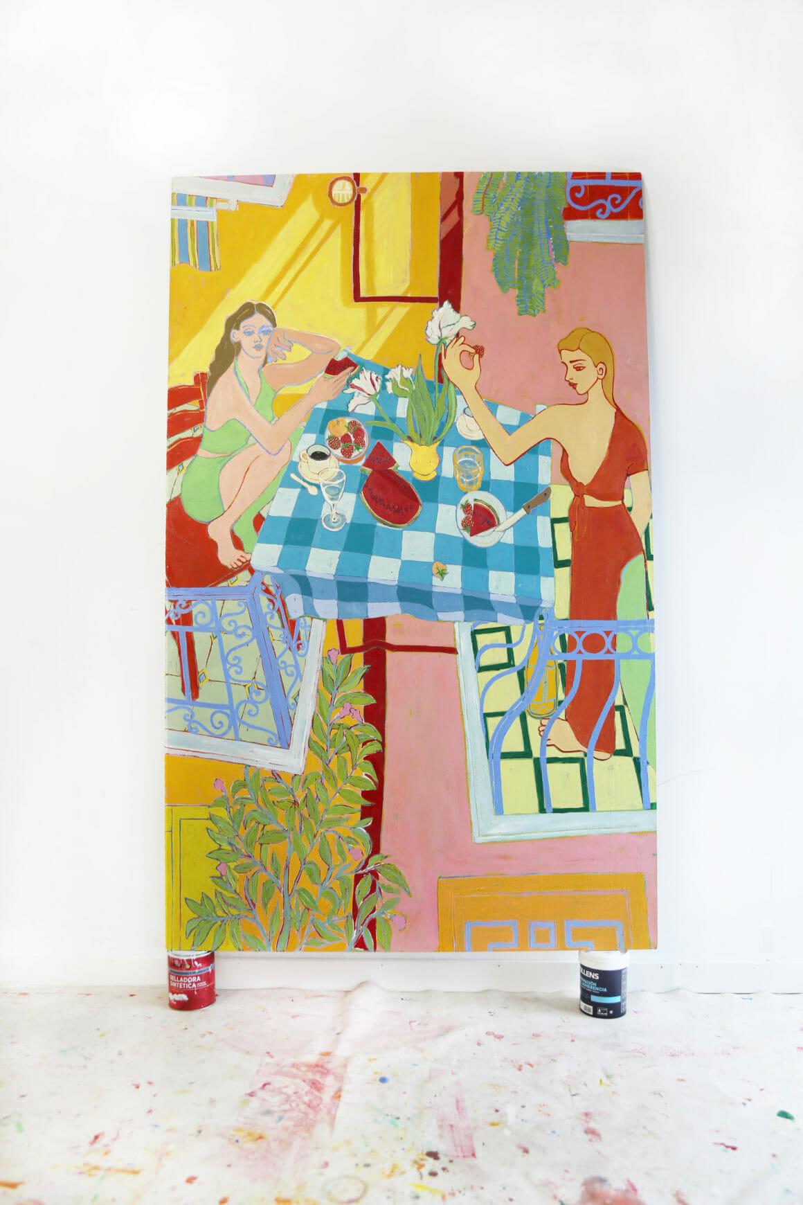 Miriam Dema, deux personnes en train de déjeuner peinture