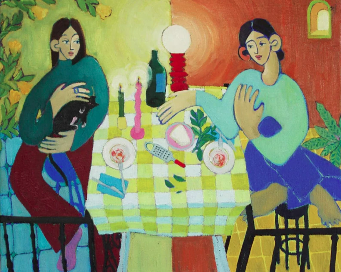 Peinture Miriam Dema, deux femmes qui dinent avec un chat