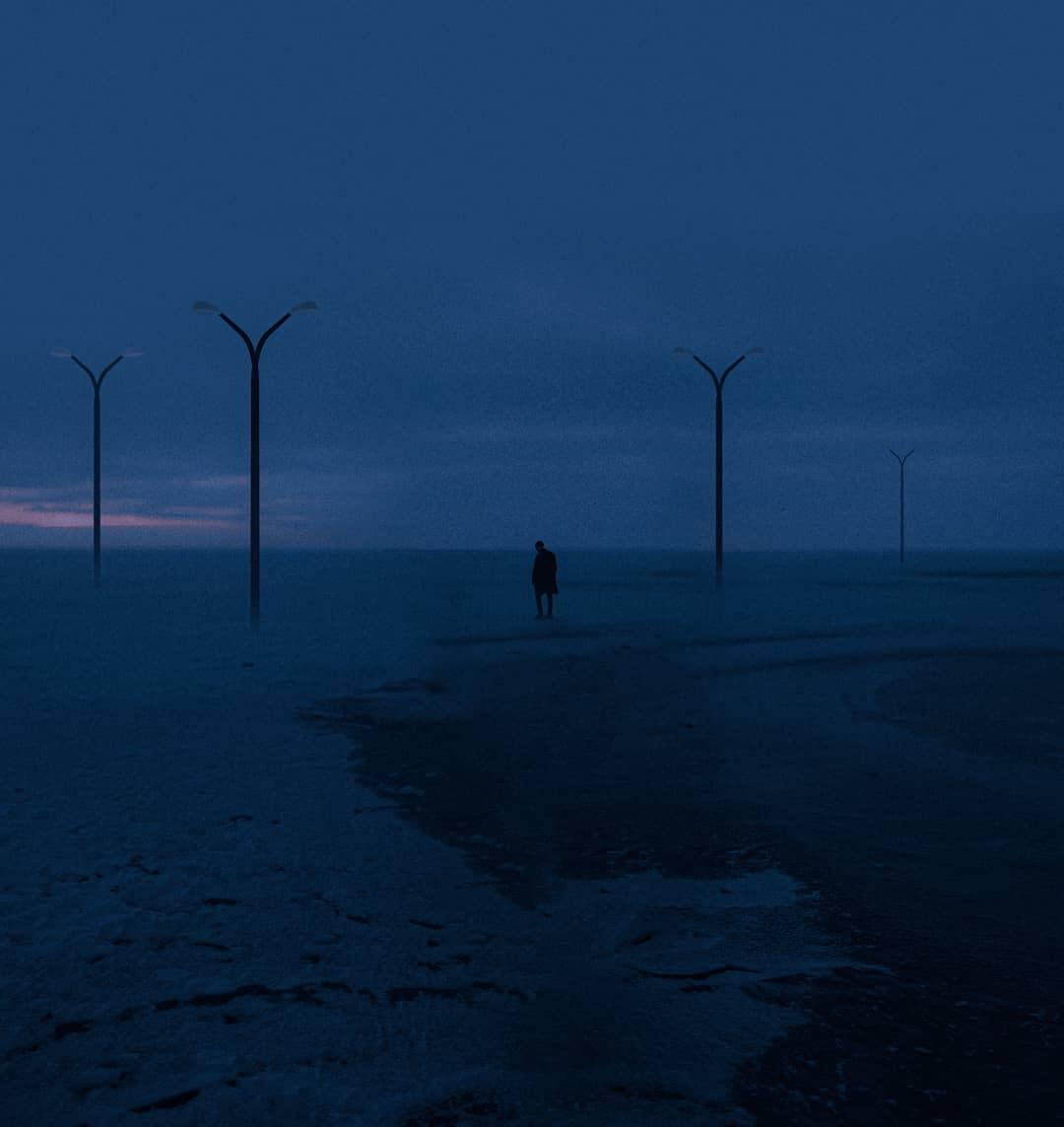 solitude, lampadaires et océan
