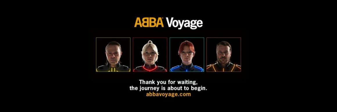 Annonce du projet ABBA voyage : portrait des quatre hologrammes sur fond noir