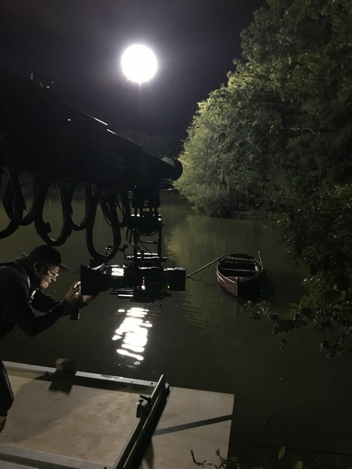 sur le tournage de boite noire, l'étang