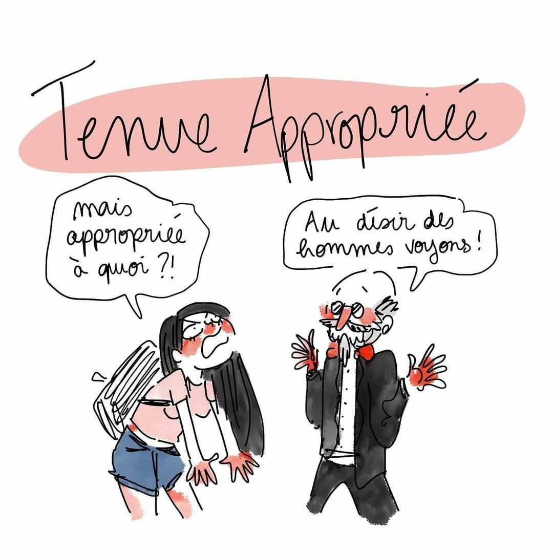 """Extrait d'une planche de La Nuit Remue Paris. Titrée """"tenue appropriée"""", on y voir une jeune fille en short qui demande """"mais appropriée à quoi ?!"""" à un vieil homme en costume désuet : """"au désir des hommes voyons!'"""