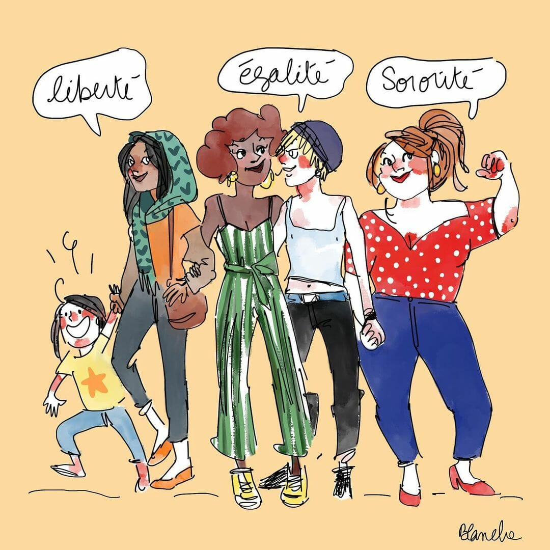 """Dessin de Blanche Sabbah : qu'âtres femmes se tiennent par la main. Leurs bulles forment la devise """"liberté, égalité, sororité"""""""