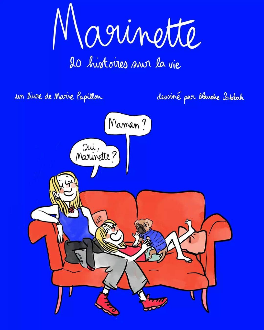 """Couverture de """"Marinette"""". Sur un fond bleu Klein, dessin d'une mère et sa fille discutent assises sur un canapé rouge."""