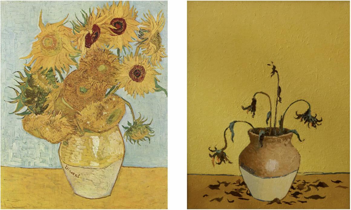 image comparative des tournesols de vincent van gogh et de l'interprétation de banksy avec sunflowers from petrol station