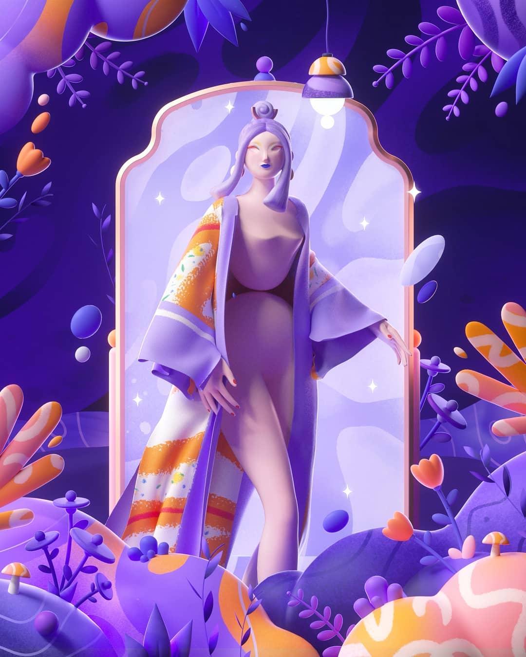 oeuvre de l'artiste mattey, femme devant un miroir