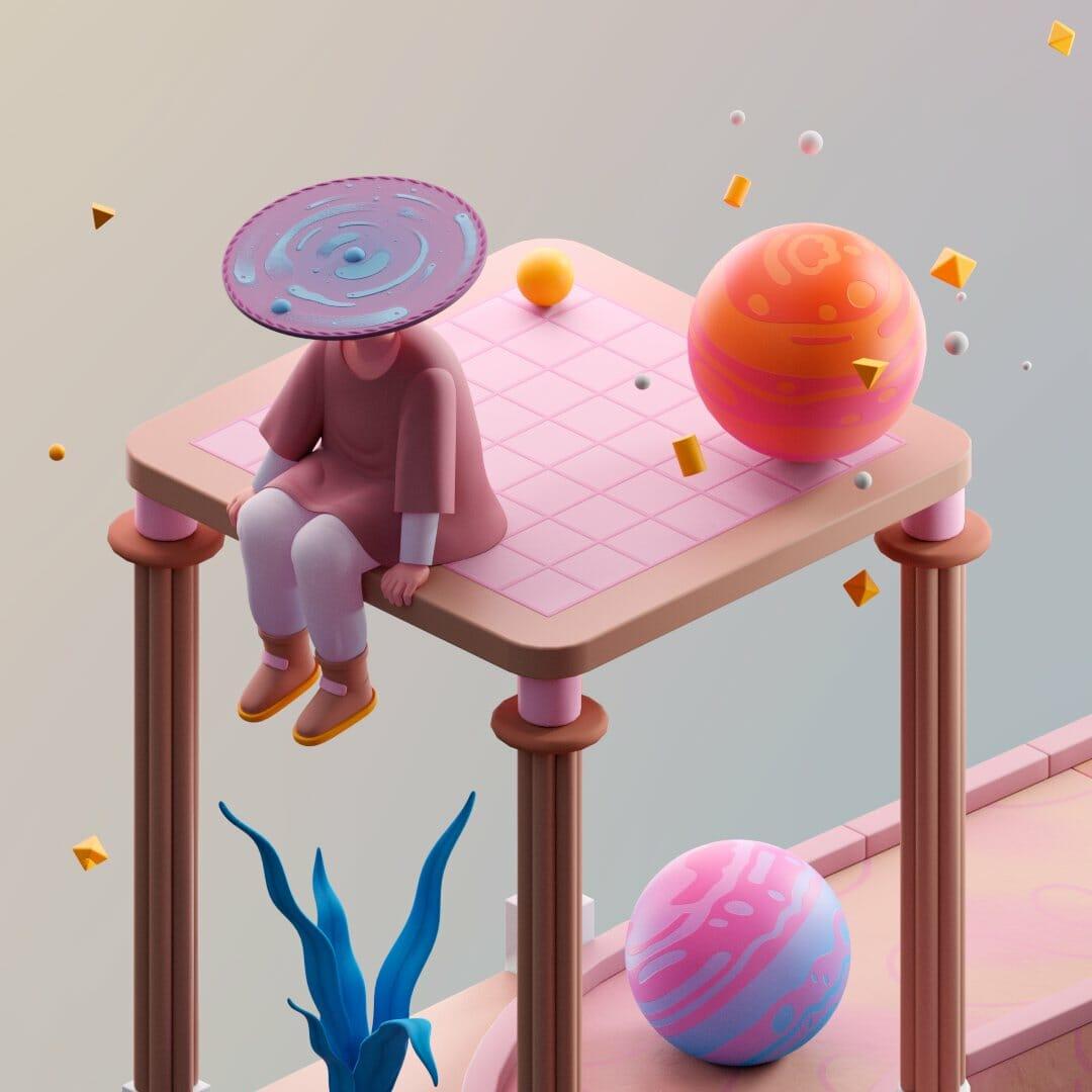 oeuvre de matthieu braccini d'un personnage qui est assis sur une structure en 3D