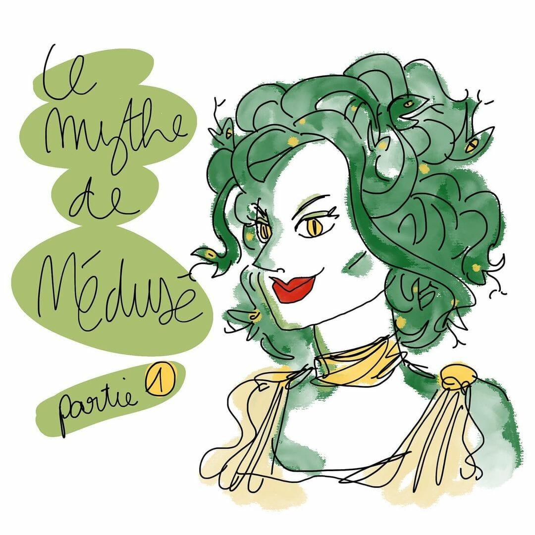 """Dessin de la créature mythologique Méduse, couverture de la seconde partie de la BD de """"Mythes et Meufs"""", disponible sur Instagram."""