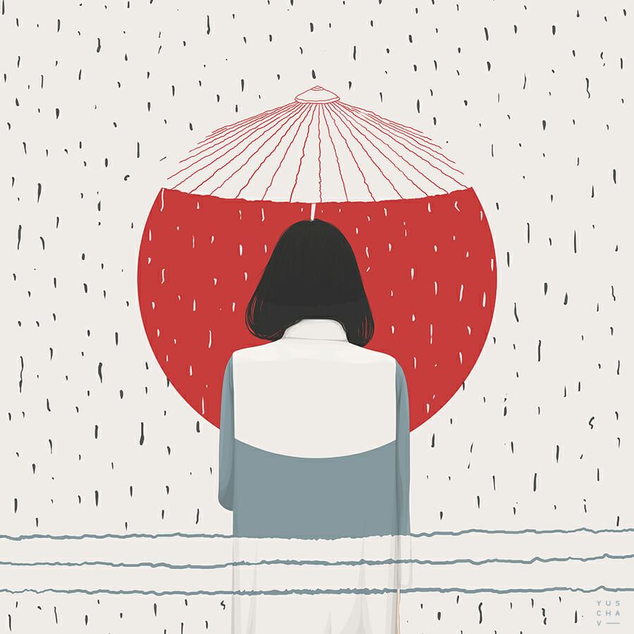 yuschav arly femme de dos avec un parapluie