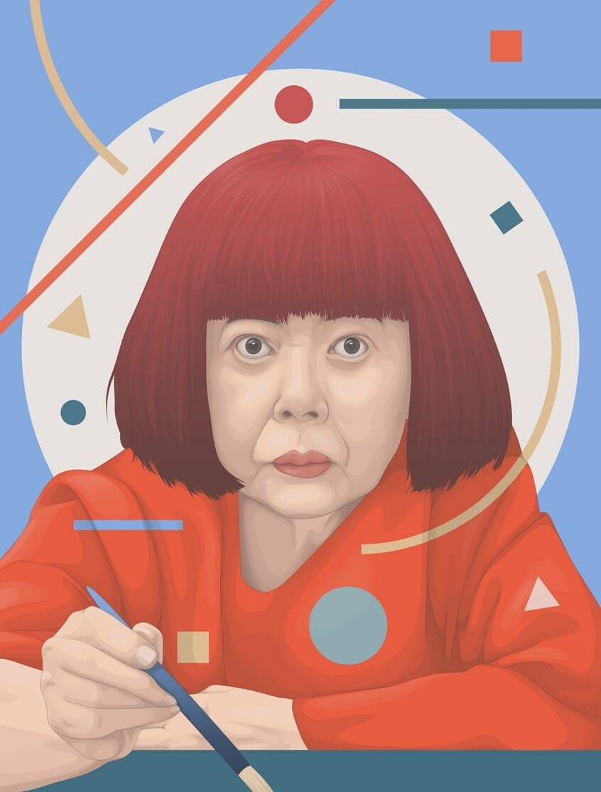 portrait de l'artiste Yayoi Kusama tenant un pinceau par Yaschiv Arly